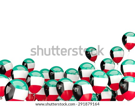 Flying balloons with flag of kuwait isolated on white - stock photo
