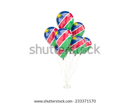 Flying balloons with flag of namibia isolated on white - stock photo
