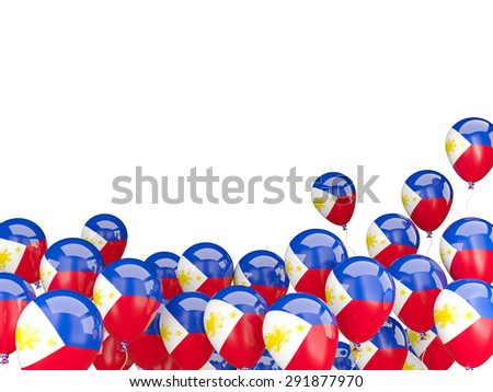 Flying balloons with flag of philippines isolated on white - stock photo
