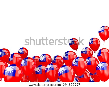 Flying balloons with flag of republic of china isolated on white