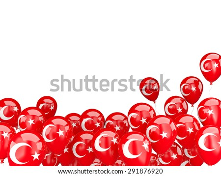 Flying balloons with flag of turkey isolated on white - stock photo