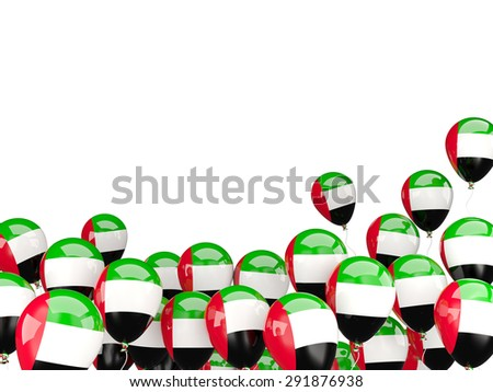Flying balloons with flag of united arab emirates isolated on white - stock photo