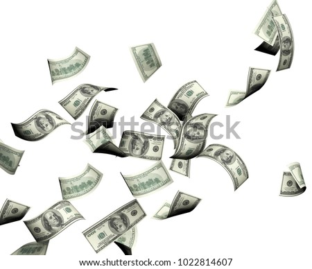 Flying banknotes of hundred dollars. Isolated on white background. 3d render