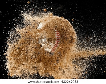 Flying baseball ball covered with sand