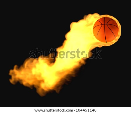 Flying basketball on fire - stock photo