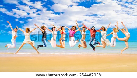 Flying Beauties Active Girls  - stock photo