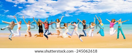 Flying Beauties Pretty Dancers  - stock photo