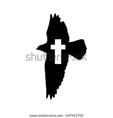 Flying Bird with cross.  - stock photo