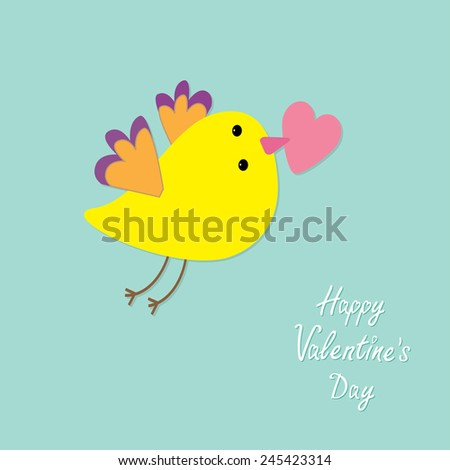Flying bird with heart. Flat design style Happy Valentines day card