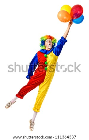 Flying birthday clown with a bunch of balloons. Full body isolated