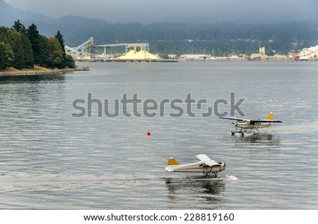 flying boats on the sea in Vancouver, Canada - stock photo