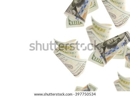 Flying bonds Of One Hundred Dollar Bills. Abstract money background - stock photo