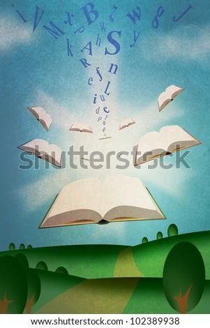 Flying Books Illustration with Roman Alphabet Texts - stock photo