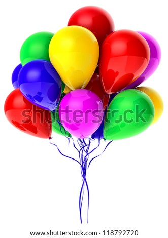 Flying bunch of balloons with helium for holiday - stock photo