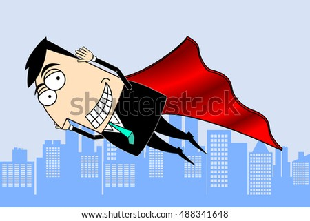Flying businessman clip-art