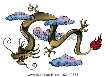 Flying Chinese dragon, symbol of 2012 year, raster from vector illustration - stock photo