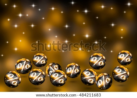 flying christmas balls with percent for sale on festive background-3d illustration