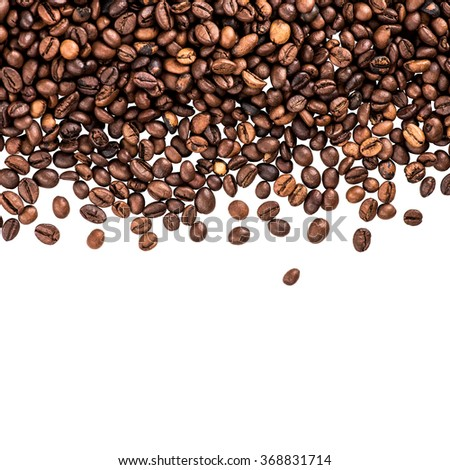 Flying coffee beans. Falling coffee beans isolated over white with sample text. Cafe menu or brochure template.  - stock photo
