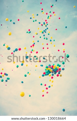 Flying colored balloons - stock photo
