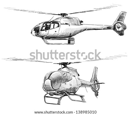 flying copter - stock photo