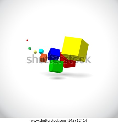 Flying cubes with shadow. Yellow, blue, red and others