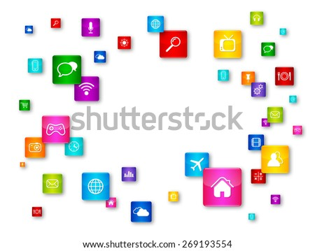 Flying Desktop Icons collection. Cloud Computing concept - stock photo