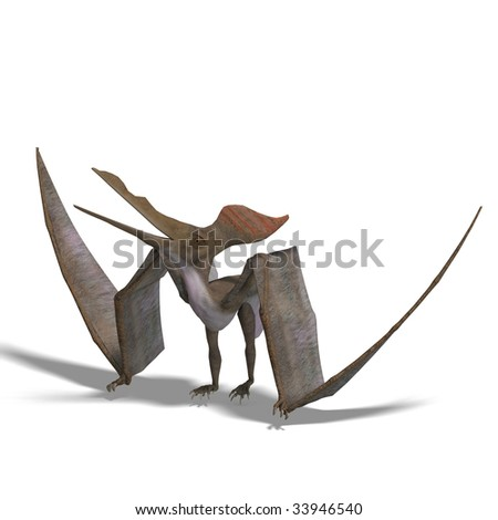 flying dinosuar Pteranodon. 3D render with clipping path and shadow over white - stock photo