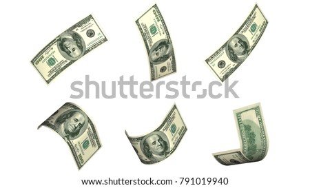 Flying dollar banknote 3d rendering isolated on white background with Clipping path