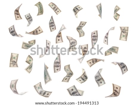 Flying dollars banknotes isolated on white