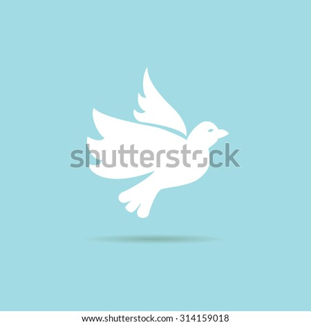 flying dove on a blue background