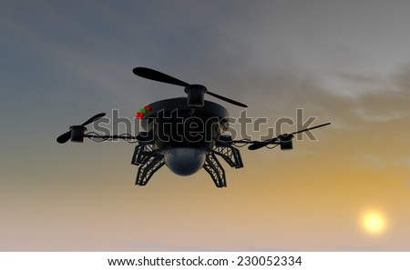 Flying drone by sunset - stock photo
