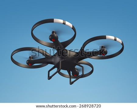 Flying drone in the sky 3d illustration - stock photo