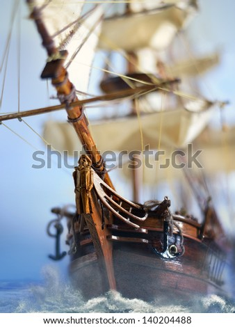 Flying Dutchman is the most famous ghost ship in the world as known as the Dutch Voltigeur - stock photo