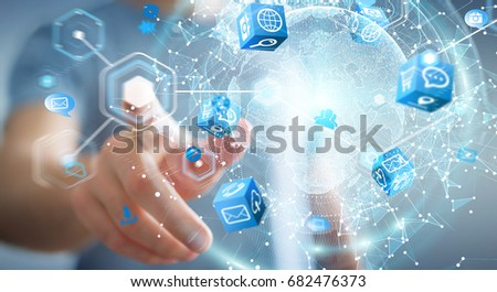 Flying earth network interface activated by businessman on blurred background 3D rendering