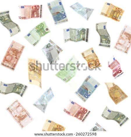 Flying Euro banknotes isolated on white - stock photo