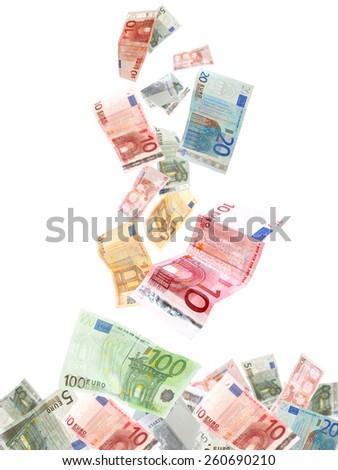Flying Euro banknotes isolated on white - stock photo
