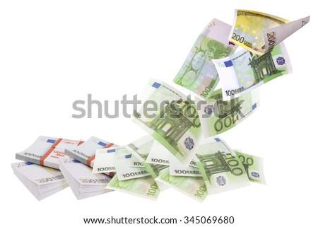Flying euro bills isolated on white background - stock photo
