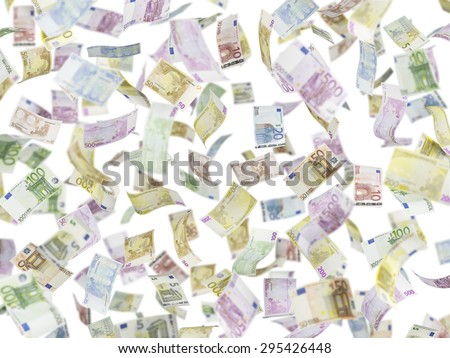 Flying EURO notes over isolated background. - stock photo