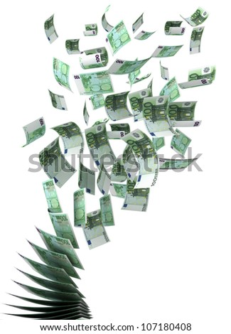 Flying Euros (isolated with clipping path) - stock photo