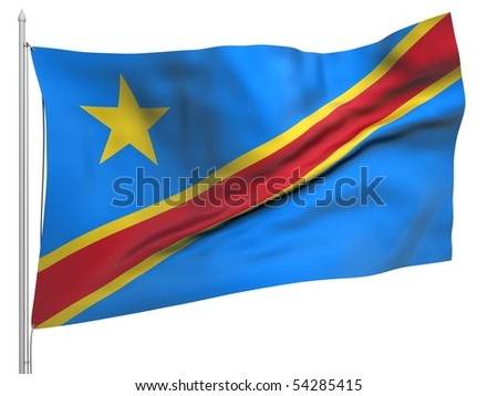 Flying Flag of Congo Democratic Republic - All Countries Collection.