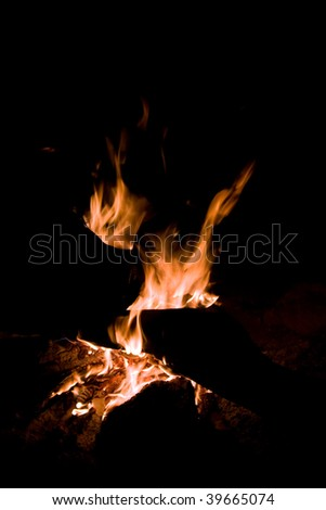 flying flames in a campfire