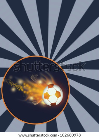 Flying flaming soccer ball background with space (poster, web, leaflet, magazine) - stock photo