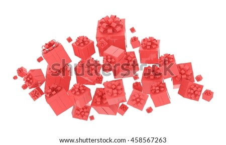 flying gift boxes on white. 3d rendering.