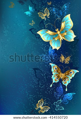 Flying gold, jewelry butterfly on blue textural background. Design with butterflies. Golden Butterfly. Bright butterfly  - stock photo