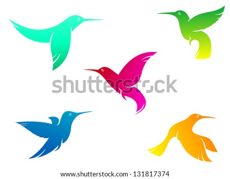 Flying hummingbirds set with color plumage isolated on white background or logo template. Vector version also available in gallery