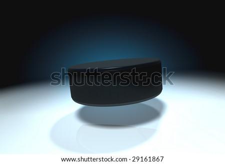 Flying ice hockey puck - stock photo