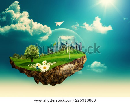 Flying island. Abstract environmental backgrounds for your design - stock photo