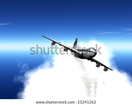 flying jet airplane in cloud