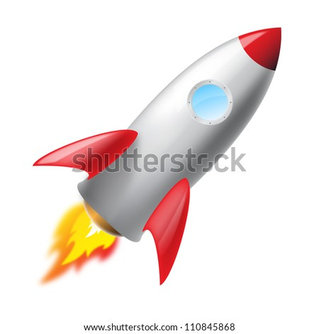 Flying metal rocket isolated, illustration  icon, 3d - stock photo