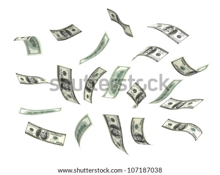 Flying Money (isolated with clipping path)